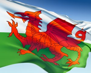 Welsh flag waving in the wind. Elaborate rendering including motion blur and even a fabric texture (visible at 100%).